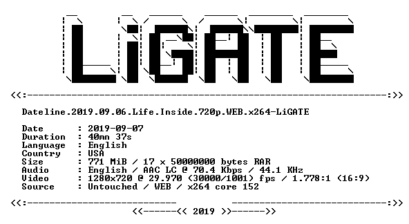 Dateline 2019 09 06 Life Inside 720p WEB x264-LiGATE - Scene